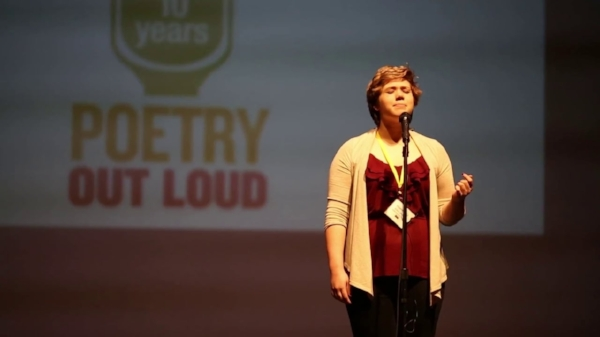 Photo via Vimeo. Grace Whitten of Battle Ground Academy '16, the 2015 Poetry Out Loud State Champion.