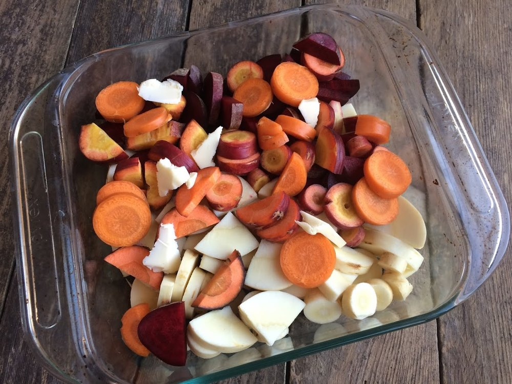 Cut up your vegetables and butter and place them in the dish like so.
