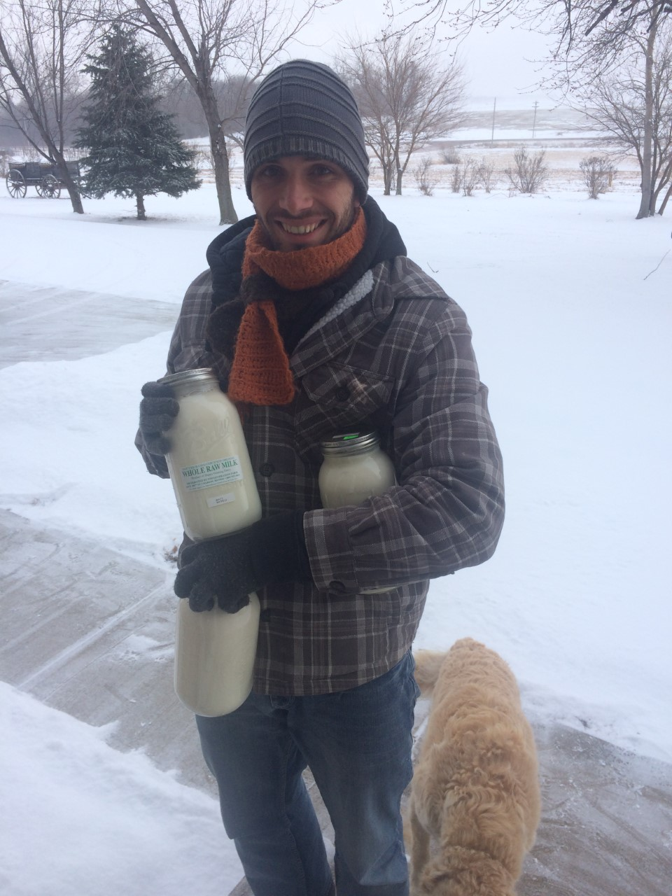 Our dedicated milkman Andre braves the weather to bring us our milk!