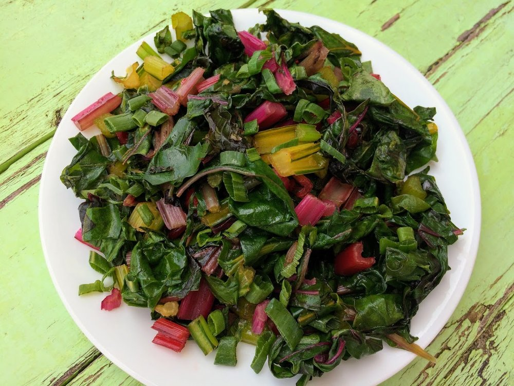 Sauteed swiss chard garnished with green onions