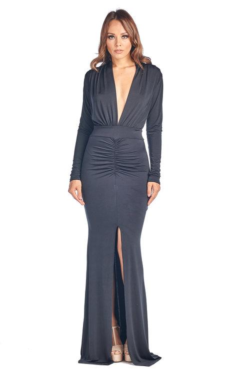 Ruched Plunging Neckline Maxi Dress Black Gemomine