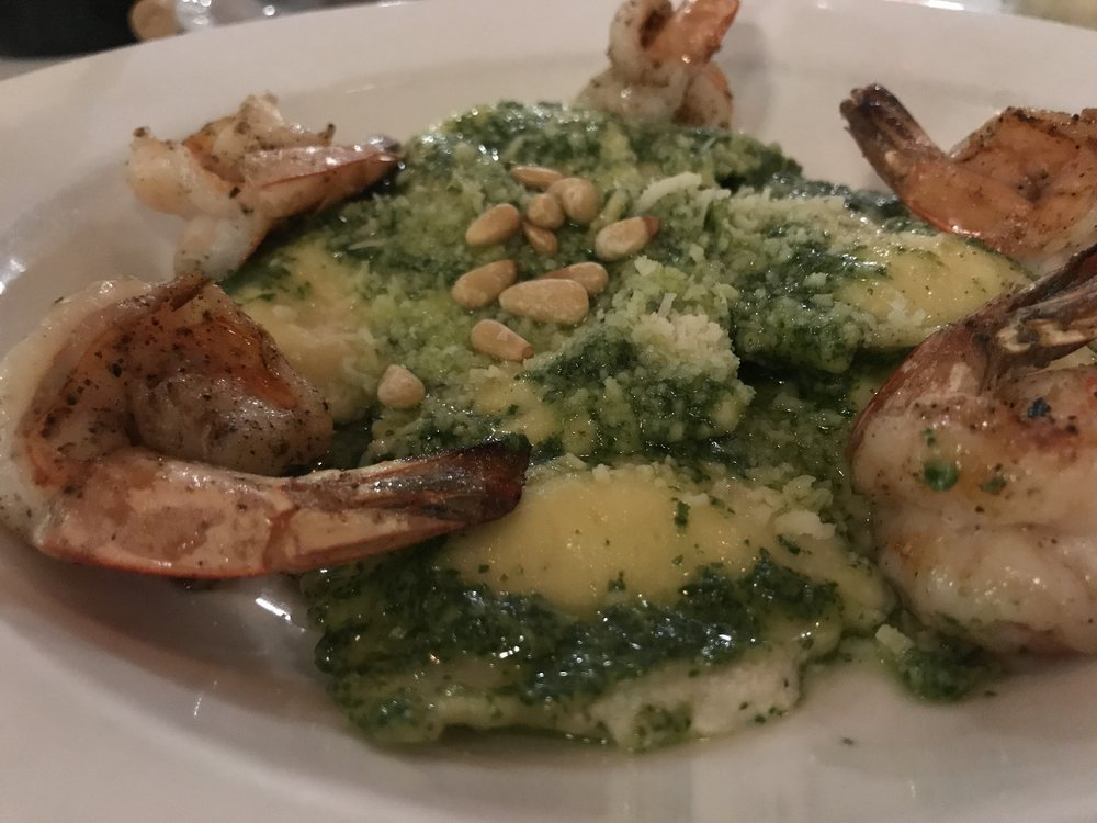 Pesto ravioli, add shrimp.