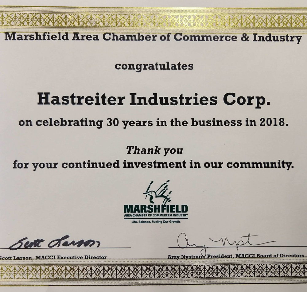 30 years of business marshfield wisconsin machine shop