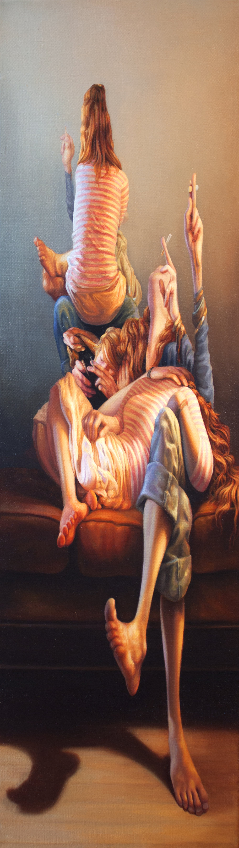 "Smoking Redheads  8"" x 28""  Oil on Linen  2016"