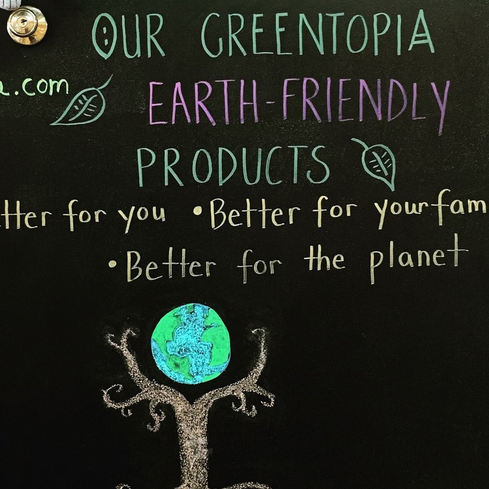 Our Greentopia is an earth-friendly goods retail shopping experience. Our family owned store offers green living, organic, upcycled and non-toxic products selected for their quality as well as for their safe and earth-friendly merits. We carry green gifts, green household and kitchen items, green bath and body products, green yoga mats and gear, green baby and youth clothing and toys, and green women's clothing, accessories and jewelry, organic and fair-trade coffee and chocolate - a little bit of everything, but all GREEN!