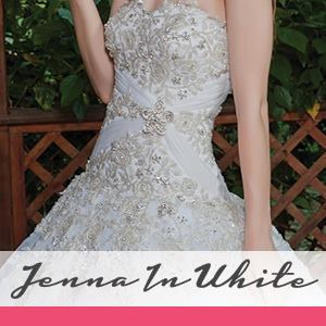 Jenna in White offers one of a kind, uniquely hand-crafted designs, with over 25 years of experience Jenna in White can create the dress of your dreams. Delicately detailed creations that you won't find in any Wedding Dress store in the United States.