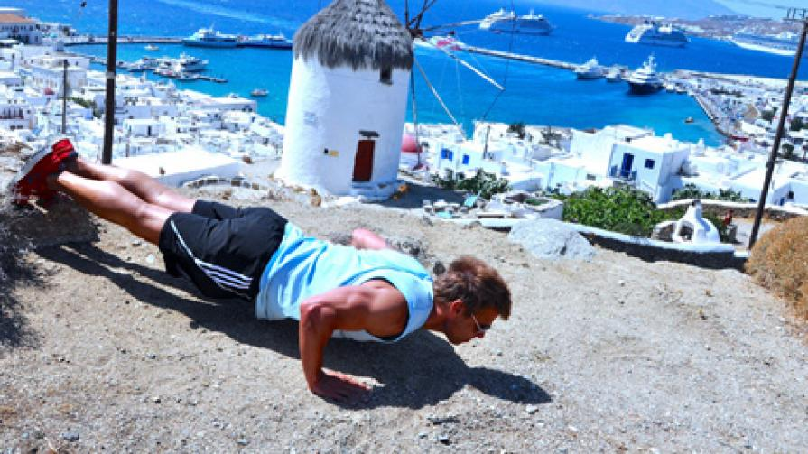 fit travel: the mykonos anywhere workout [video] — men's fitness