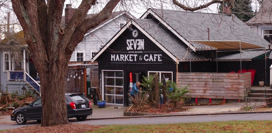Seven Coffee Roaster location in Ravenna Blvd - building established in 1922