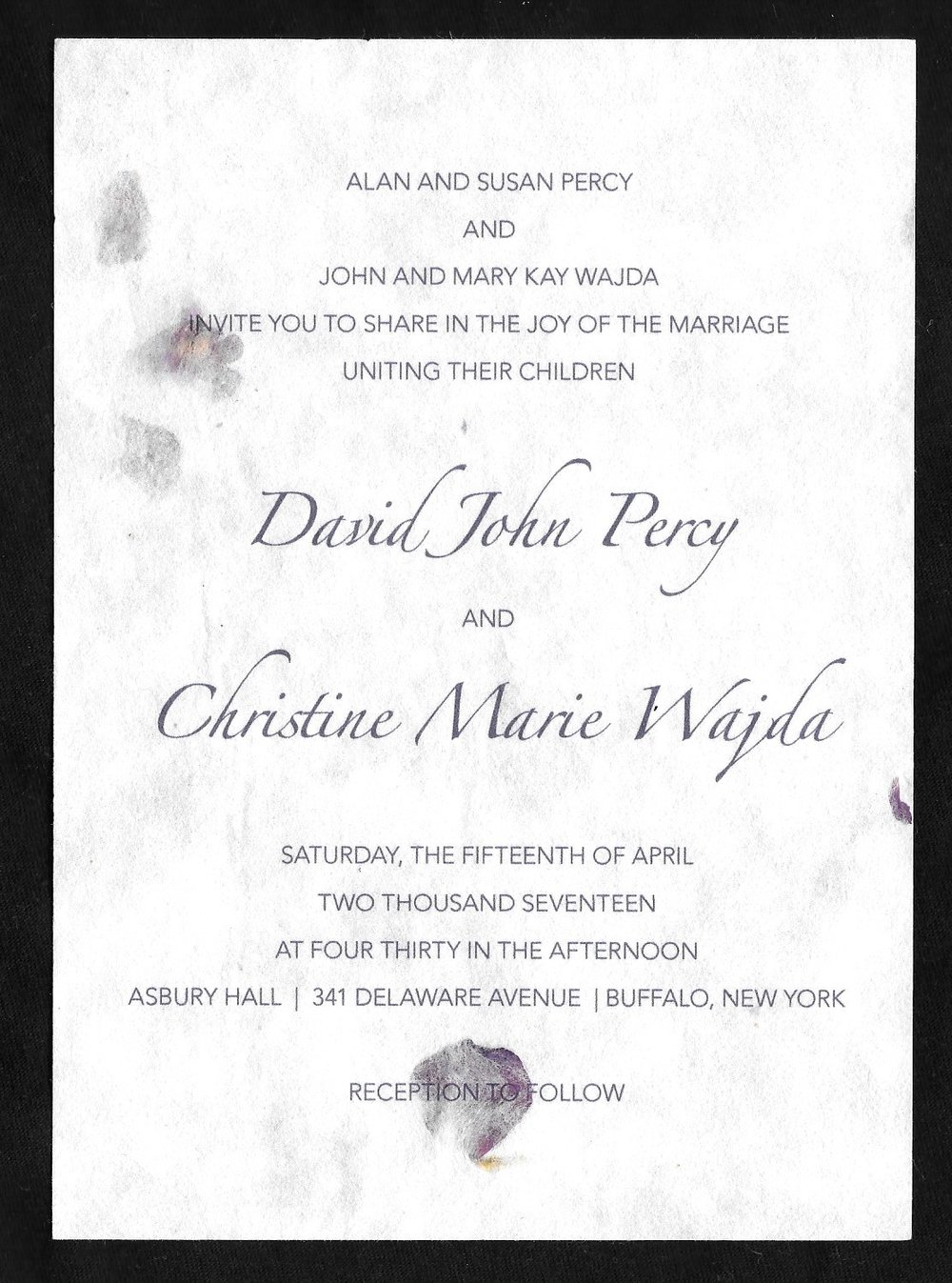wedding invitations for David Percy & Christine Wajda