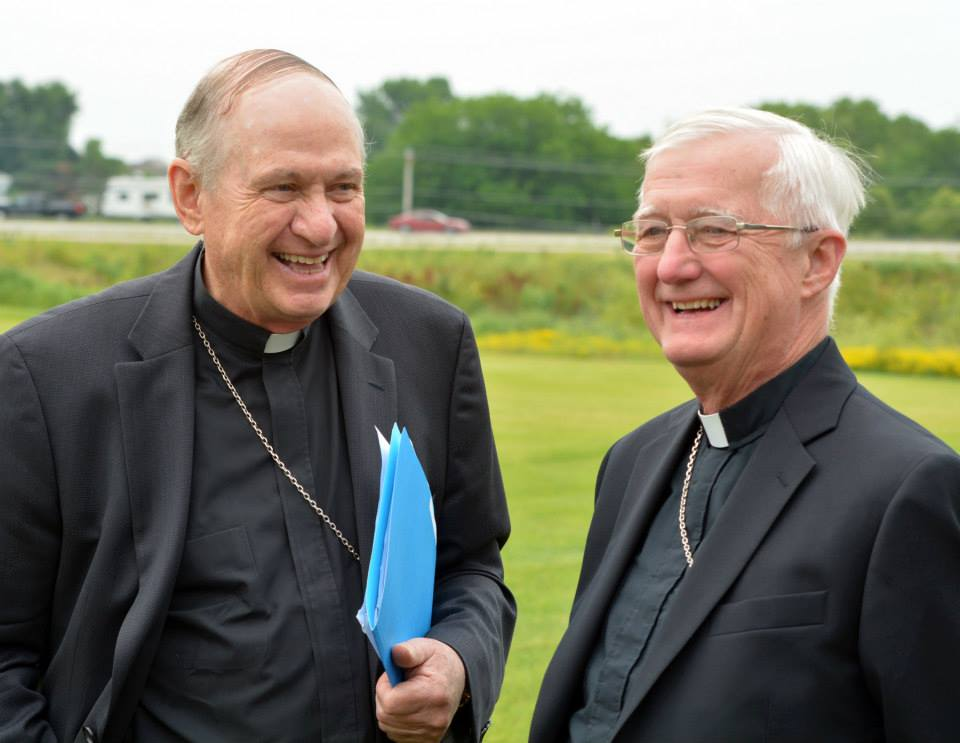 Bishop Richard Pates from Des Moines and Bishop Martin Amos from Davenport at press event.
