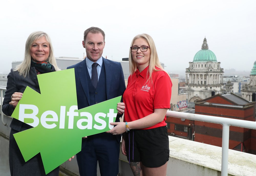 Chief Executive of Belfast City Council Suzanne Wylie, Regional Director of GLL in Northern Ireland, Gareth Kirk, and Devon Small from GLL announce 75 new jobs across leisure centres in the city.