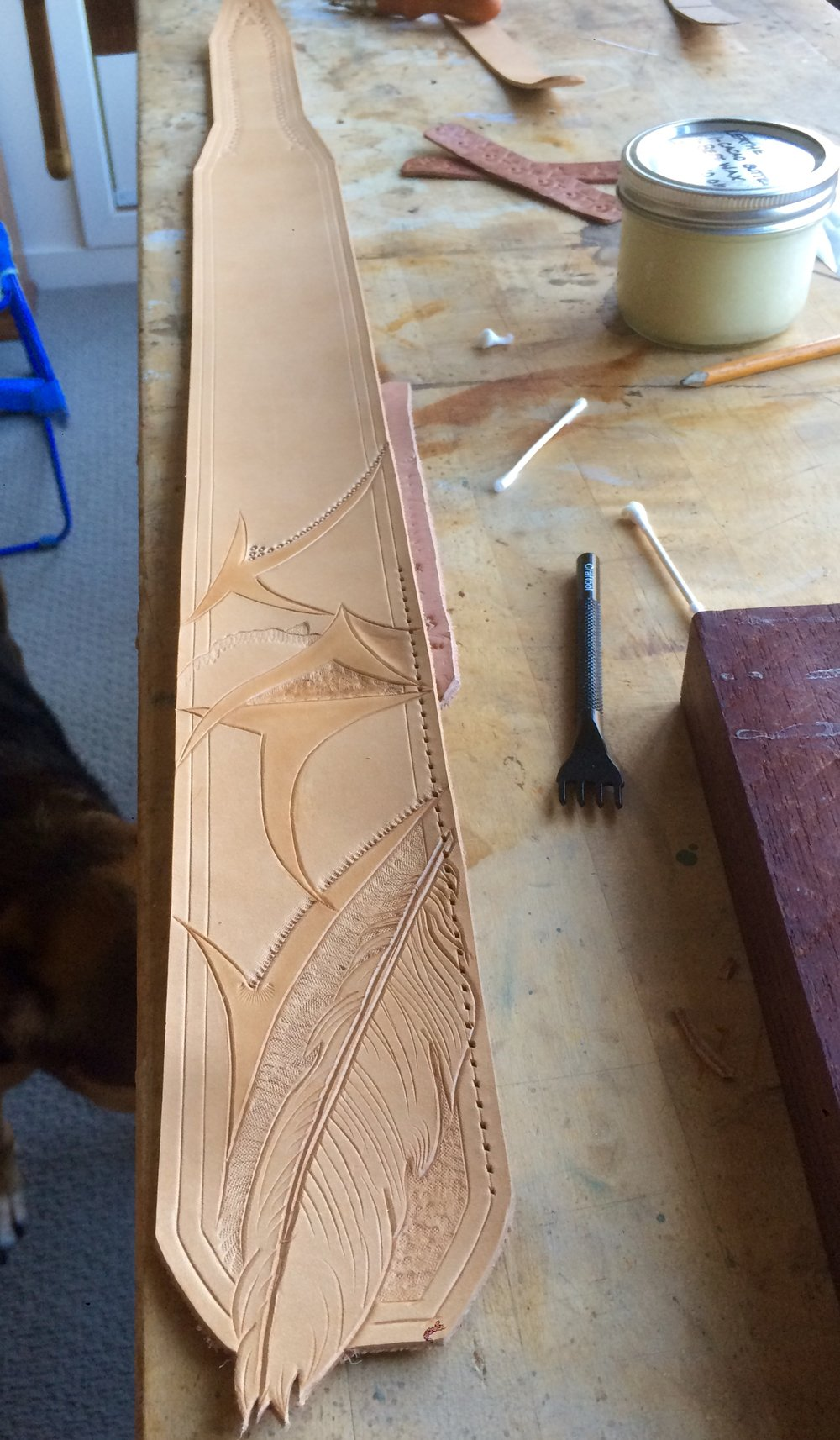 Ethically sourced vegetable tanned leather guitar strap in progress