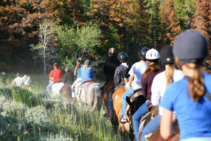 Horseback riding through the woods