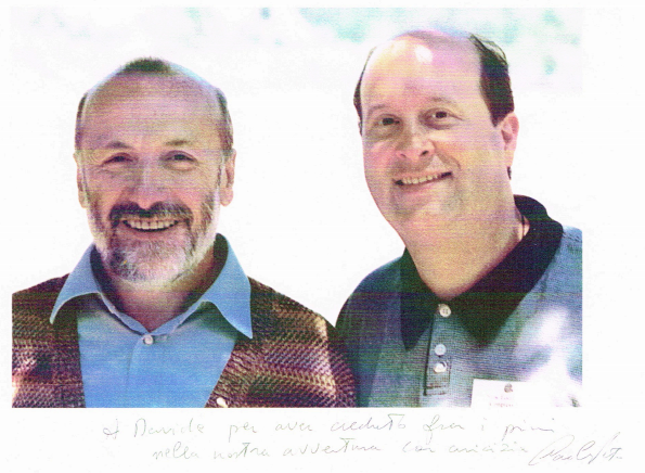 "Carlo Petrini, founder of Slow Food International, with David Eastis who founded the third Slow Food convivium in the US.  ""To Davide, for being one of the first to believe in this adventure. With friendship, Carlo."""