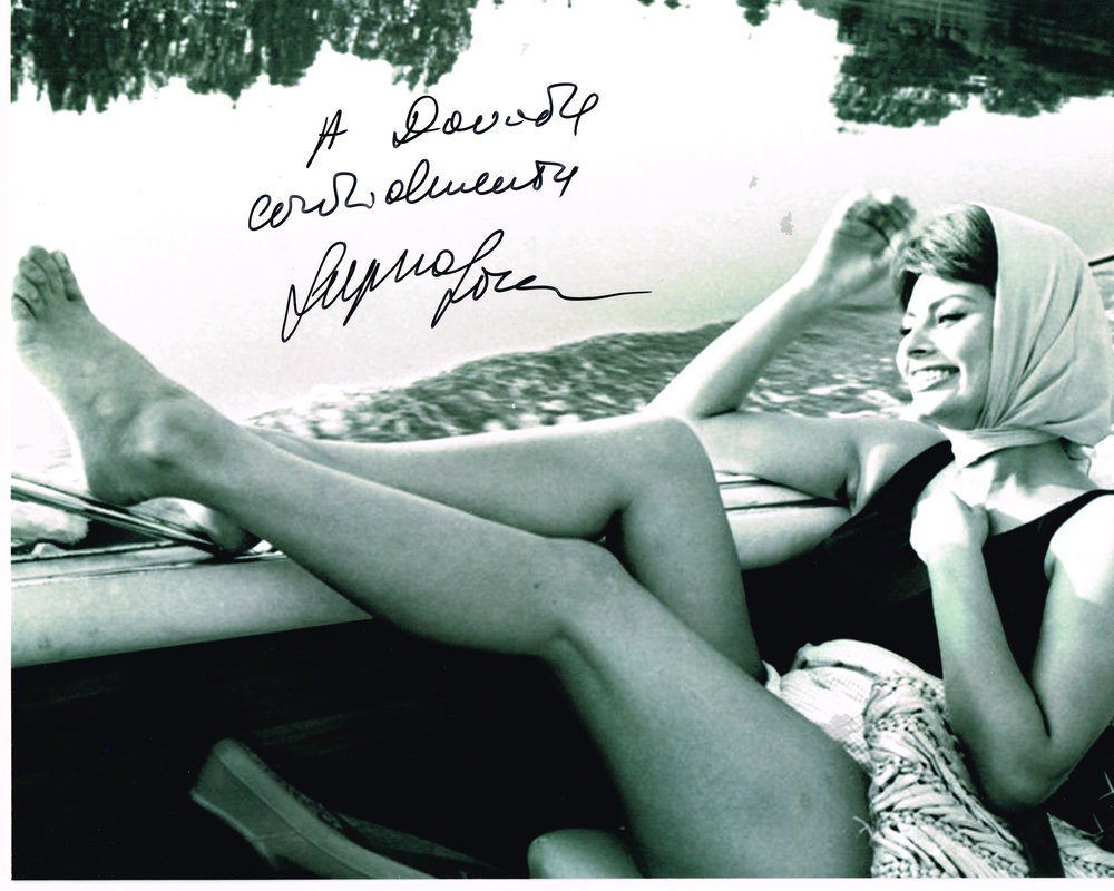 To Davide,  Warmly, Sophia Loren