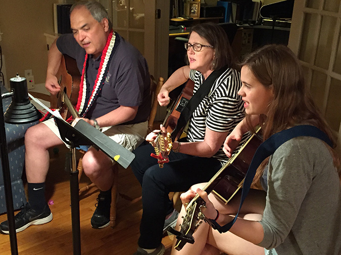 Tony jamming with sister-in-law Mary and goddaughter Joelle.