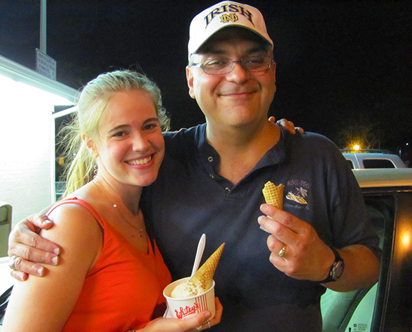 Tony and Joelle having a Quad Cities classic: Whitey's ice cream.