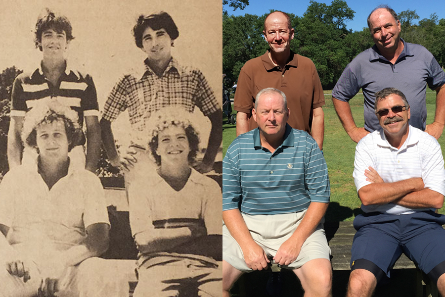 40 years later : The young lads in 1978 on the left were still fab when they met up this summer in Bloomington, Ill., to reunite for golf and re-create an image: Clockwise from upper right, Pete Wofford, Kevin Schwulst, Rick Gilbert and Cliff Schrock.
