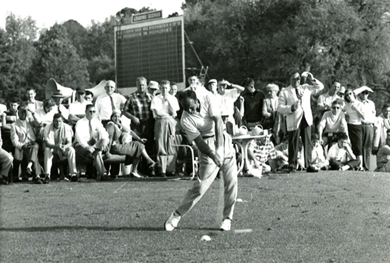 Roberto De Vicenzo blasts a drive in the 1956 Masters Long Drive Contest.