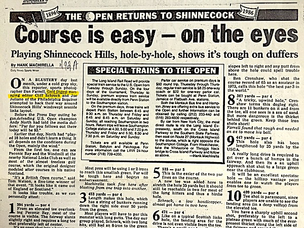 My first round of golf at Shinnecock was part of NY Daily News 1986 reporting.