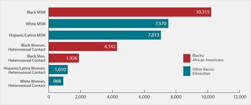 Graph showing new HIV diagnoses by subpopulation (race, gender, and transmission category) in 2015. Source: https://www.cdc.gov/hiv/group/racialethnic/africanamericans/index.html
