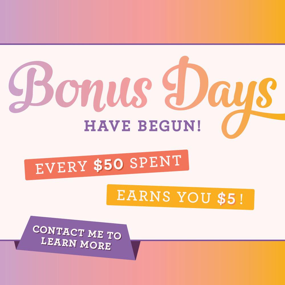 Stampin' Up! Bonus Days! August 1 thru 31st.