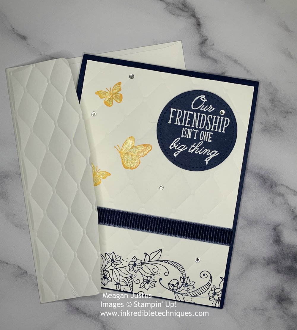 Card for Best Friend Featuring Stampin' Up! Beauty Abounds. Card Making Image with Embossed envelope flap.