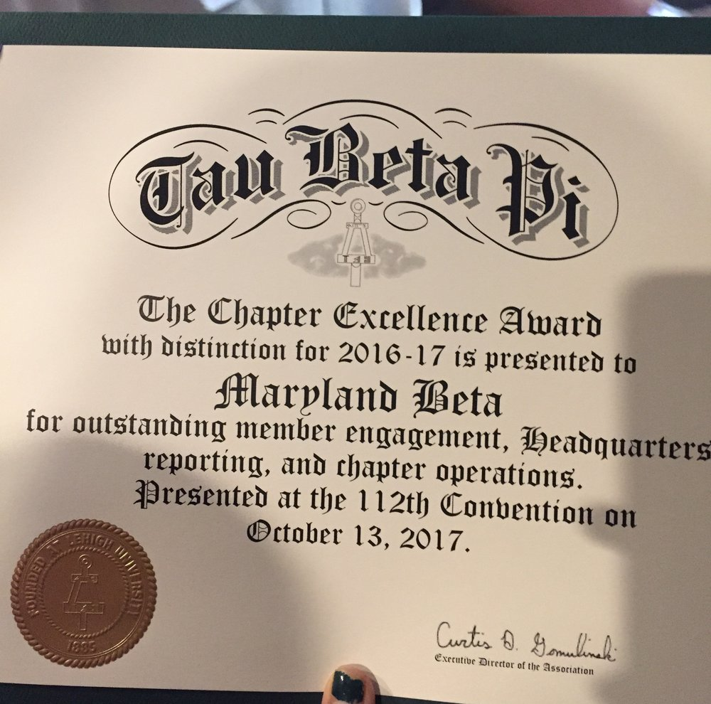 Chapter Excellence Award from Convention 2017