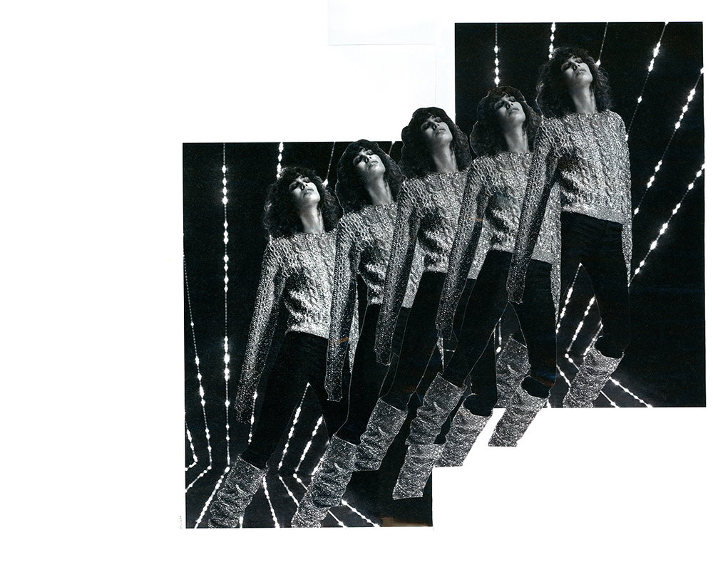 Retro chic staccato. Black & white fine art print of an analog collage    ©    Camila Pombo