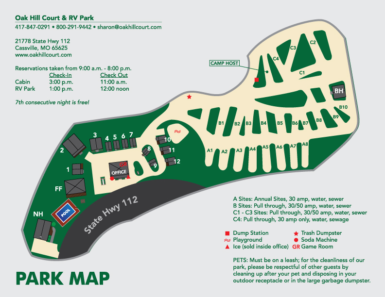Oak Hill Court & RV Park Map for the 2017 season.
