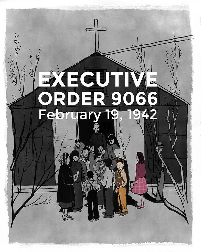 Thu Quach, thành viên của PIVOT, hàng ngày ngắm nhìn bức ảnh của Ansel Adams, đã được chụp vào năm 1943 tại trại giam ở Manzanar. Hai đứa trẻ được đánh dấu trong hình là bố chồng của cô và chị gái. Illustration credit:Thi Bui, thành viên của PIVOT