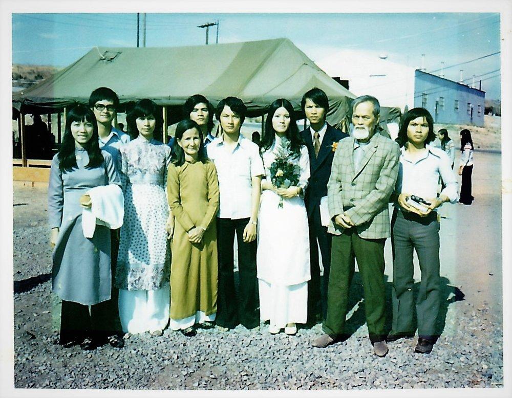 Nguyen family ( so many of us) at Camp Pendleton, San Diego 1975