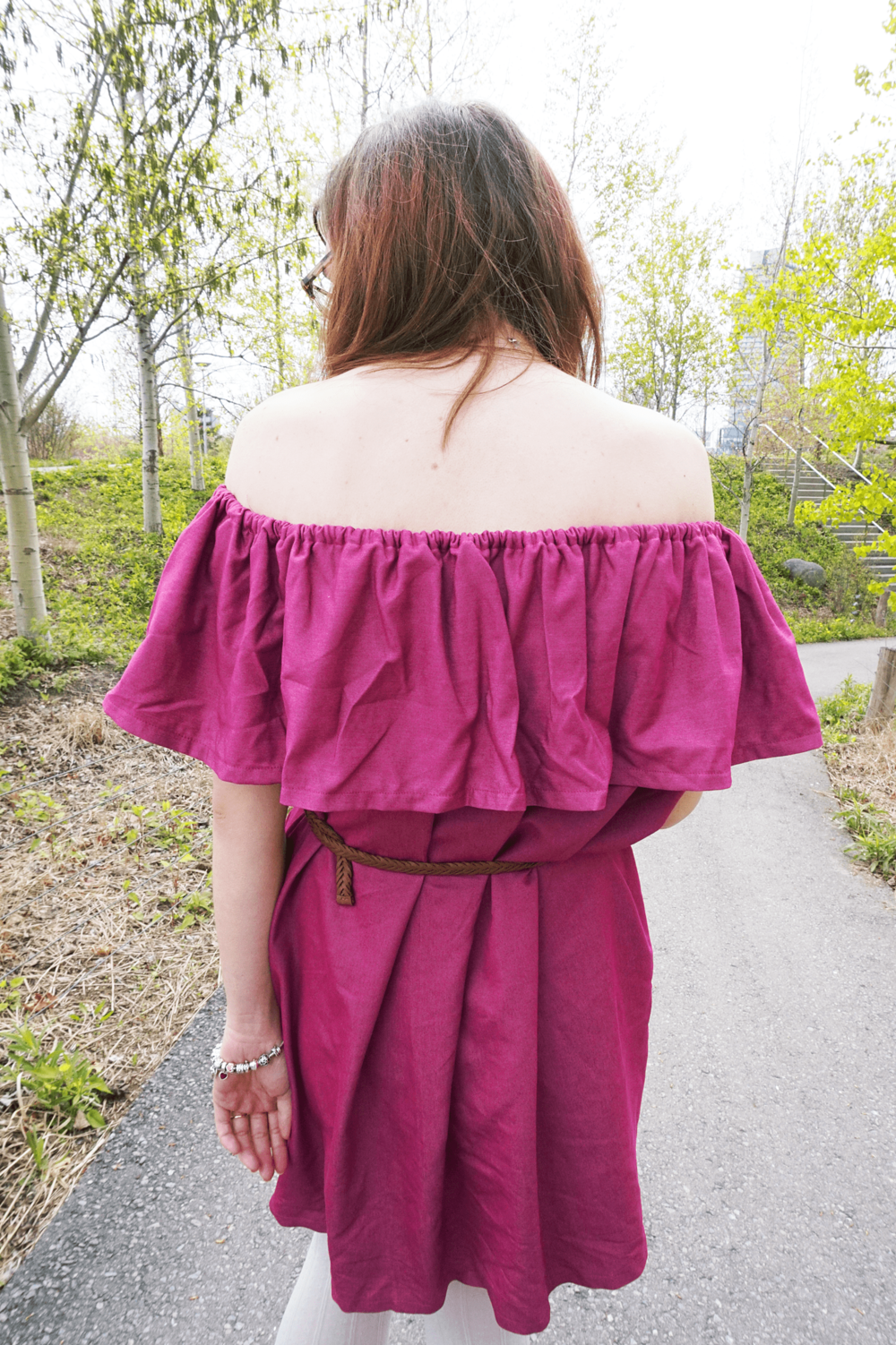 DIY Off the Shoulder Dress Made with Megan Nielsen's Tutorial