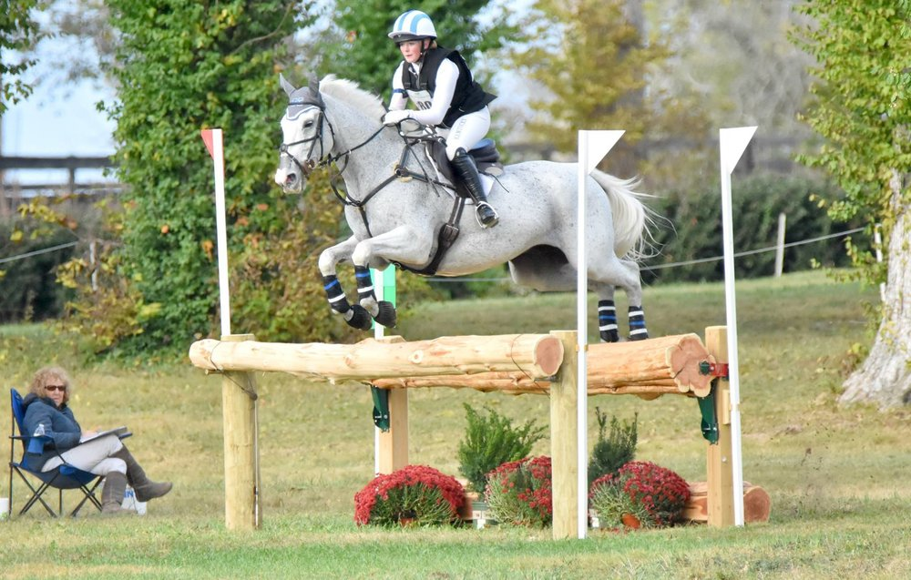 Sales Associate Macy Clark and her horse, Baron B, competing at the Hagyards CCI* -