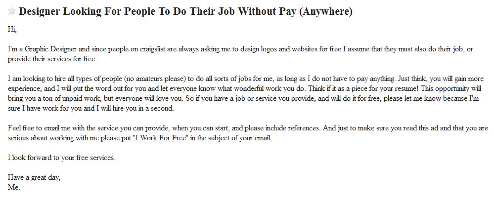 looking for free labor