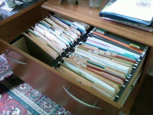 files in a file cabinet