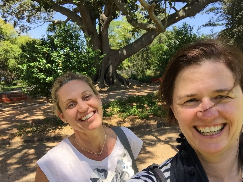 Cape town -  i feel sunny and bright here. turns out it's on a very special spot in my global astro map. Here i am with my dear friend Sarah (left) who shares my love of cape town as a very special place. we'll be back!