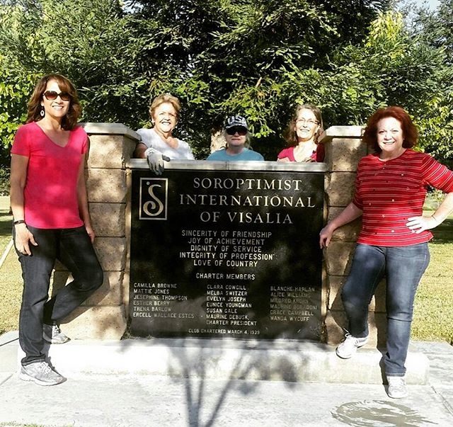 Thanks to our dedicated members who came put to plant flowers & lay mulch at #soroptimist park in #visalia for #makeadifferenceday2017! We appreciate your hard work! #bestforwomen #soroptimistsierrapacificregion