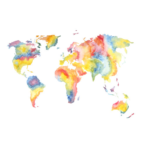 Rainbow World Map Paula Sepp Prints For Sale