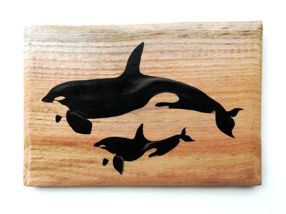 orca whale wood print art watercolour design sepp sebastian thalheim paula formosa