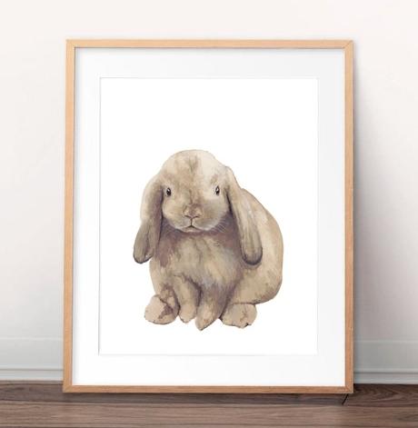 lop eared bunny rabbit painting watercolour art print paula formosa