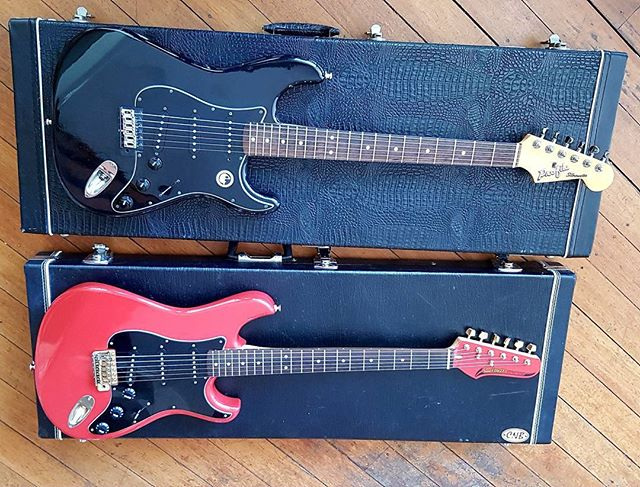The japanese Strat cousins. 1980 and 1984  thanks Matt Crawford for setting up these beauties :-) #stratocaster #strat #guitar #guitarworld
