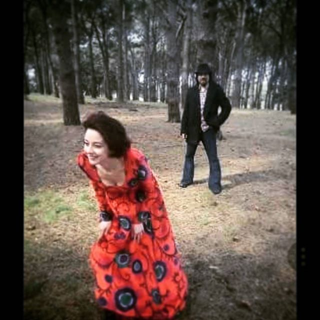 Having a wuthering heights moment in Centennial park taken by legendary rock photographer  Tony Mott .. #moment #candid #love #bandphoto #red #reddress #vintage #1111 #art #photography #katebush #retro #musician #band #forest#centennialpark #fun