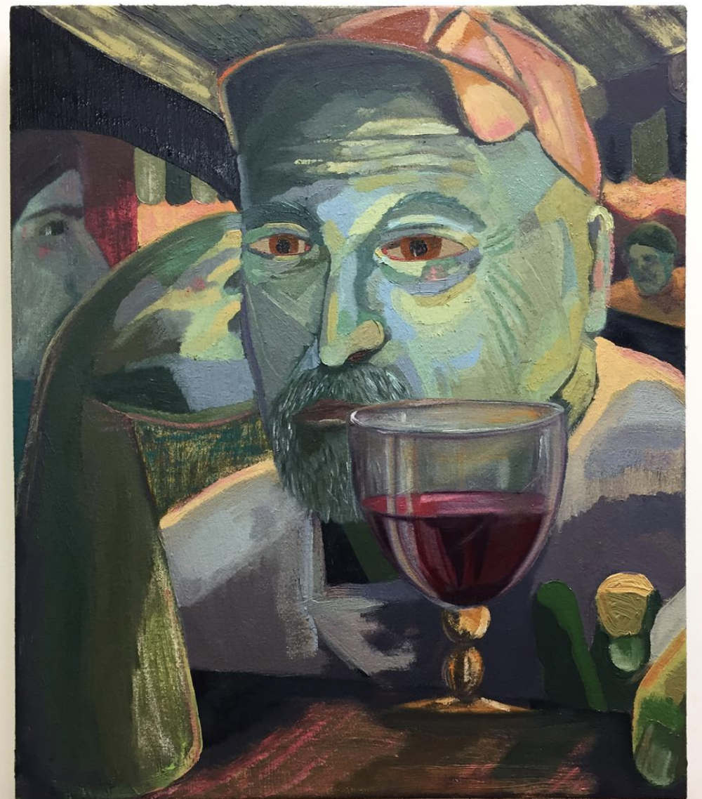 Wine Bar , 2018, Oil on canvas, 20 x 17 inches