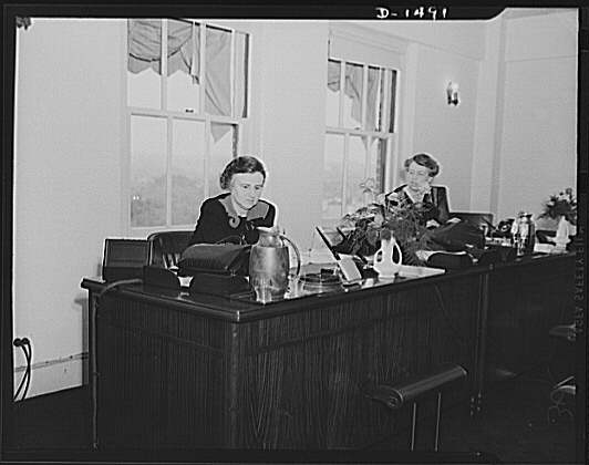 Eleanor Roosevelt and Elinor Morgenthau in the office of War Information (sometime between 1940 and 1945)