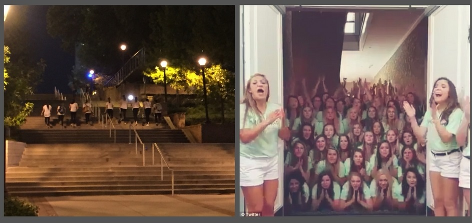Left:  A Greek wall makes the Skiles stairs, already a physical burden, even more impossible to climb;  Right:  Texas sorority builds perfect wall using combination of impassable structure and terrifying demon chanting