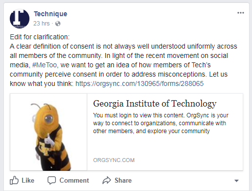 The poll in question was posted to the Technique's official facebook page on October 18, 2017.
