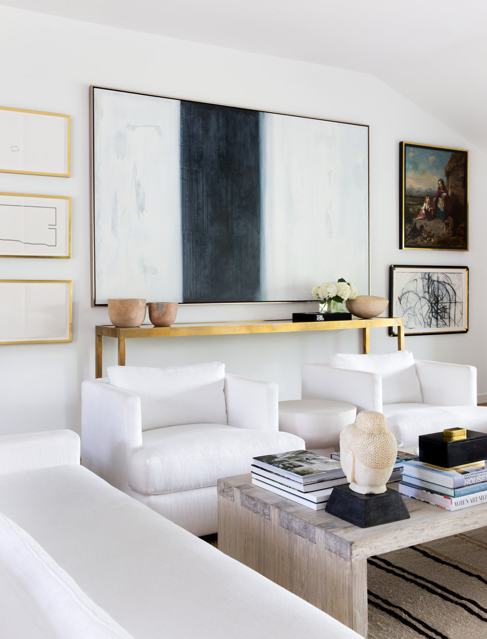 Living Room, White Furniture, Coffee Table Books, Wall Paintings