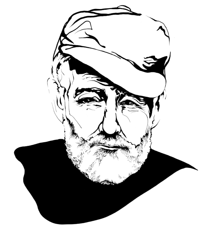 Ernest Hemingway Portrait Illustration  - This image will be a focal point on the company's website, and it's also being used as the profile picture for all of their social media properties and platforms.