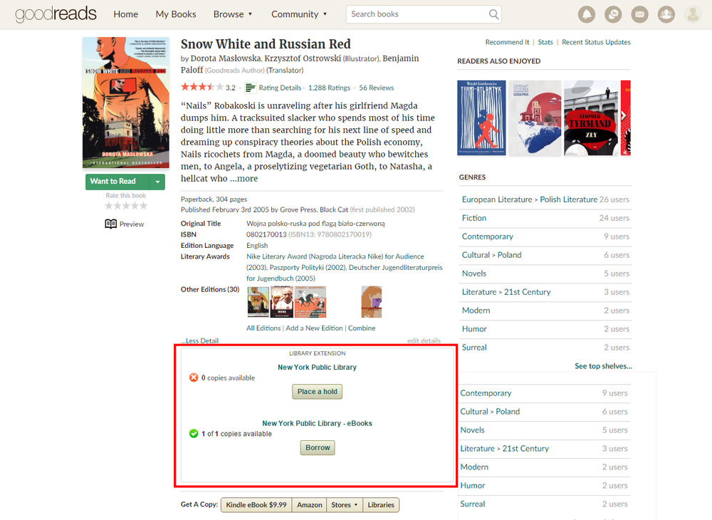 Example of the Library Browser Extension on Goodreads